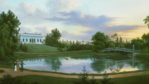 Gemälde zeigt Park mit Menschen, weißem Haus und kleinem See