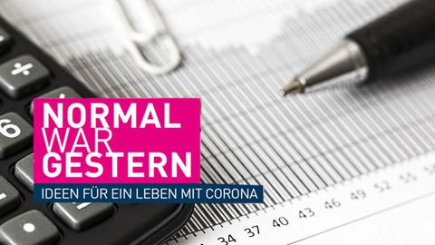 Symbolbild Wirtschaft, Logo: Normal war gestern - Ideen für ein Leben mit Corona