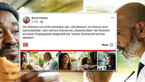 Ein Screenshot eines Facebook-Posts von Boris Palmer zur Kampagne der Deutschen Bahn