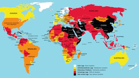 Eine Landkarte zur Pressefreiheit