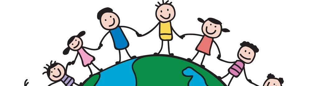 Kinder halten sich an der Hand und Bilden einen Kreis rund um den Erdball (Zeichnung)