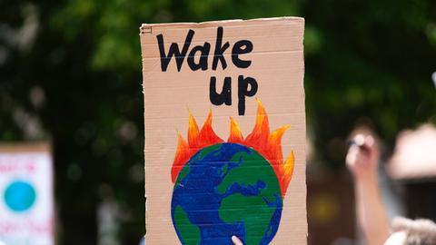 """Schild mit """"Rettet den Planeten""""-Aufschrift auf einer Klima-Demonstration"""