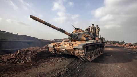 Türkischer Panzer in Afrin (Syrien)
