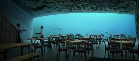 Das Unterwasserrestaurant von Innen mit Blick in den Ozean (Simulation)