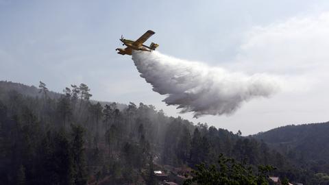 Ein Löschflugzeug fliegt am 15.08.2017 über Agua Formosa (Portugal) nahe Vila de Rei und wirft Löschwasser ab.