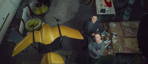 Wingcopter-Betreiber Jonathan Hesselbarth und Tom Plümmer